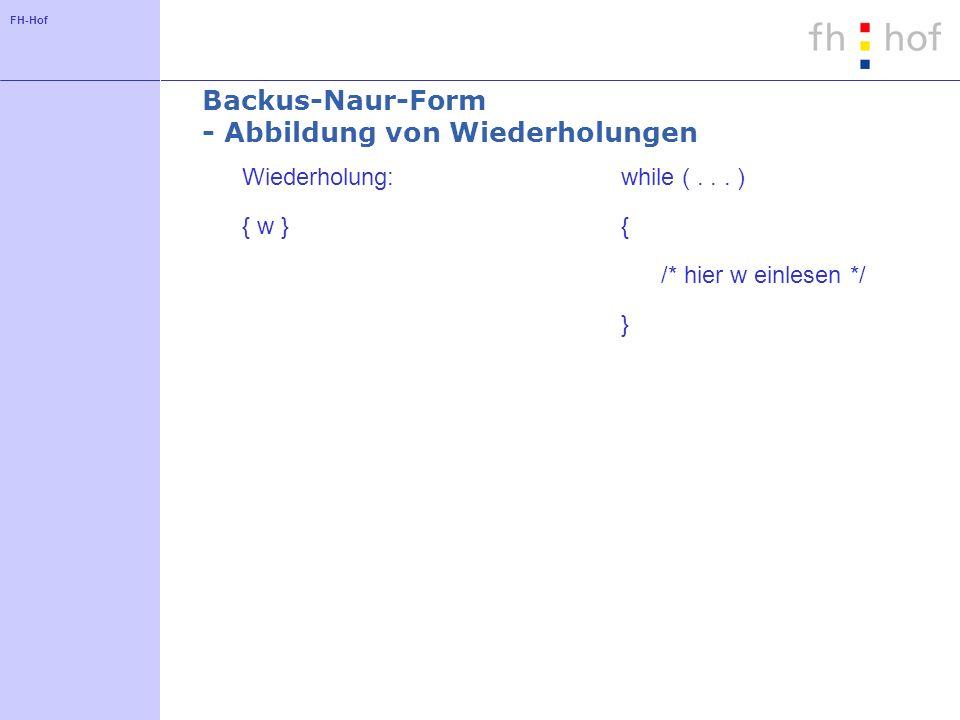 FH-Hof Backus-Naur-Form - Abbildung von Wiederholungen Wiederholung: { w } while (... ) { /* hier w einlesen */ }
