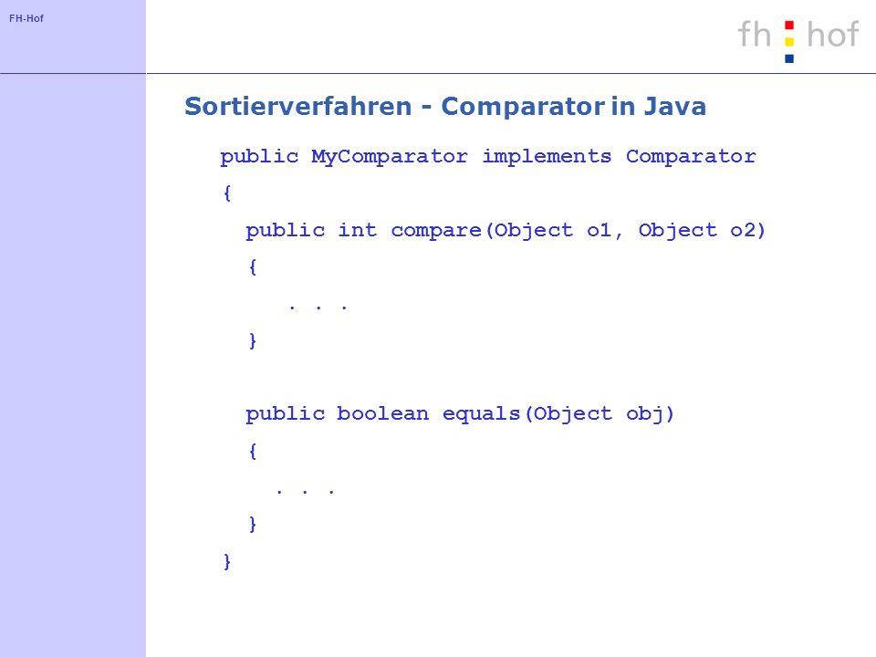 FH-Hof Sortierverfahren - Comparator in Java public MyComparator implements Comparator { public int compare(Object o1, Object o2) {... } public boolea