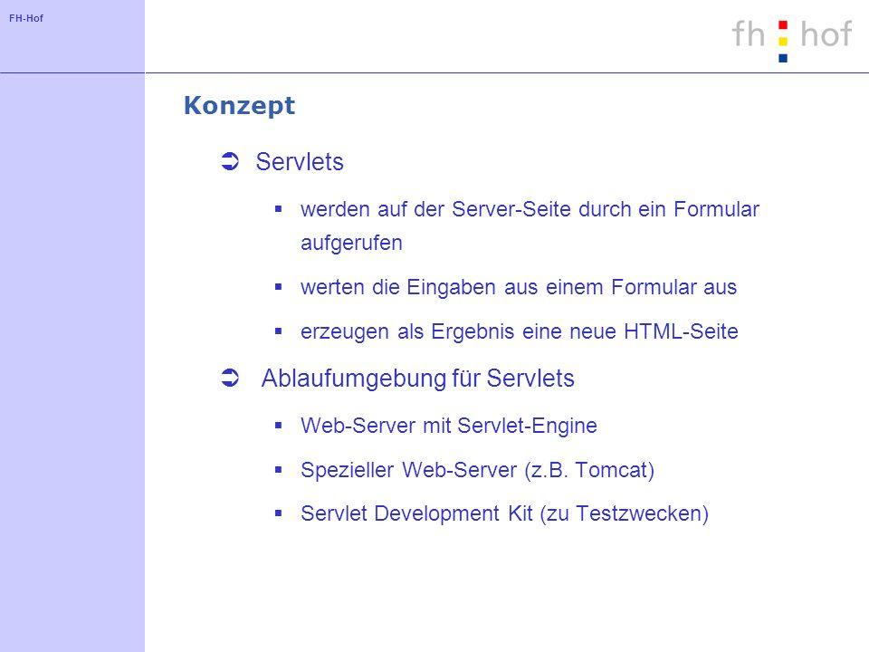 FH-Hof Konzept Servlets werden auf der Server-Seite durch ein Formular aufgerufen werten die Eingaben aus einem Formular aus erzeugen als Ergebnis eine neue HTML-Seite Ablaufumgebung für Servlets Web-Server mit Servlet-Engine Spezieller Web-Server (z.B.