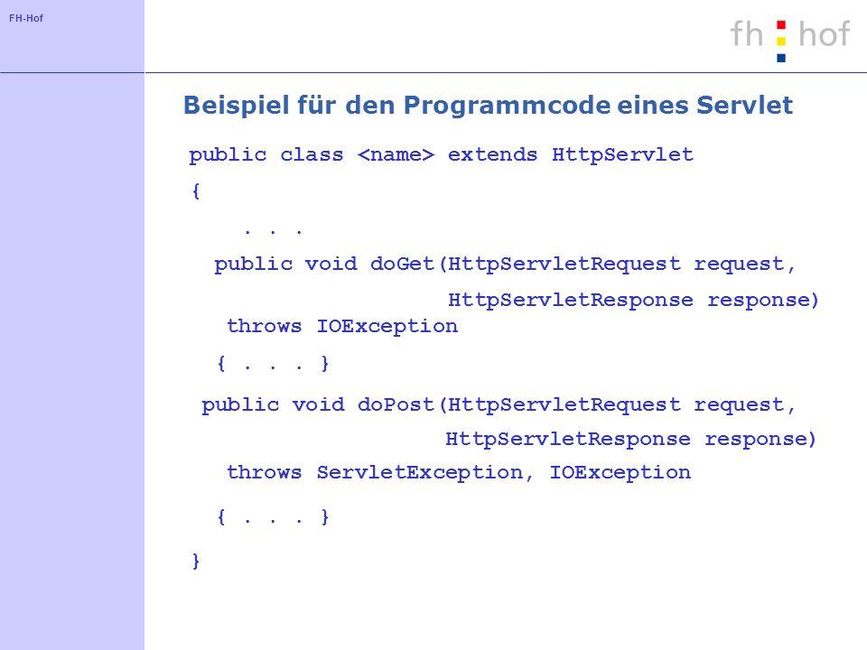 FH-Hof Beispiel für den Programmcode eines Servlet public class extends HttpServlet {... public void doGet(HttpServletRequest request, HttpServletResp