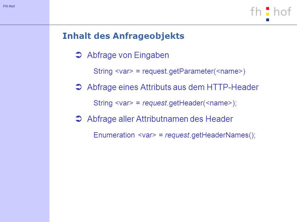 FH-Hof Inhalt des Anfrageobjekts Abfrage von Eingaben String = request.getParameter( ) Abfrage eines Attributs aus dem HTTP-Header String = request.getHeader( ); Abfrage aller Attributnamen des Header Enumeration = request.getHeaderNames();