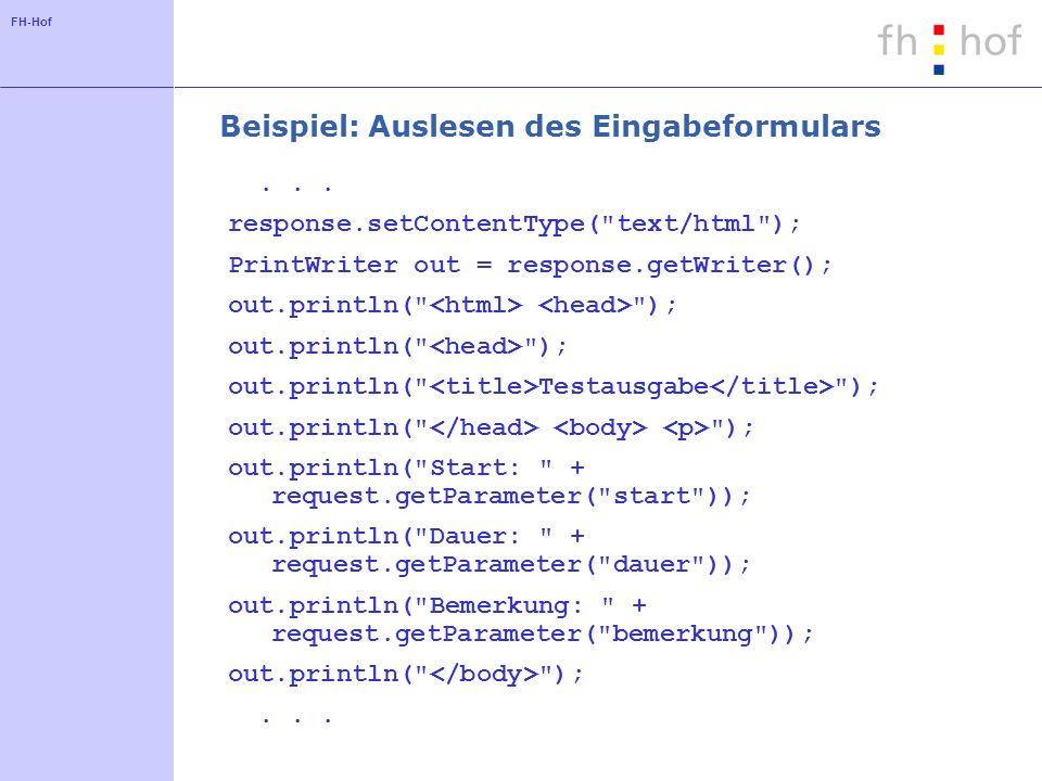 FH-Hof Beispiel: Auslesen des Eingabeformulars... response.setContentType(