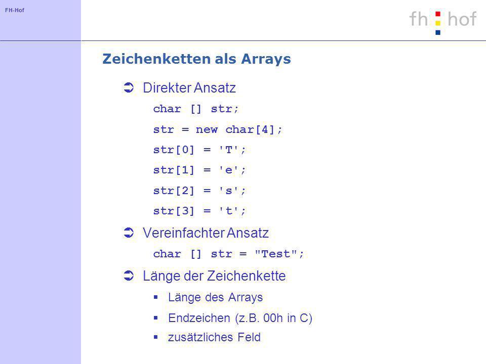 FH-Hof Zeichenketten als Arrays Direkter Ansatz char [] str; str = new char[4]; str[0] = T ; str[1] = e ; str[2] = s ; str[3] = t ; Vereinfachter Ansatz char [] str = Test ; Länge der Zeichenkette Länge des Arrays Endzeichen (z.B.