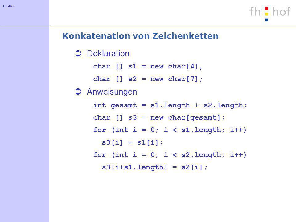 FH-Hof Konkatenation von Zeichenketten Deklaration char [] s1 = new char[4], char [] s2 = new char[7]; Anweisungen int gesamt = s1.length + s2.length; char [] s3 = new char[gesamt]; for (int i = 0; i < s1.length; i++) s3[i] = s1[i]; for (int i = 0; i < s2.length; i++) s3[i+s1.length] = s2[i];