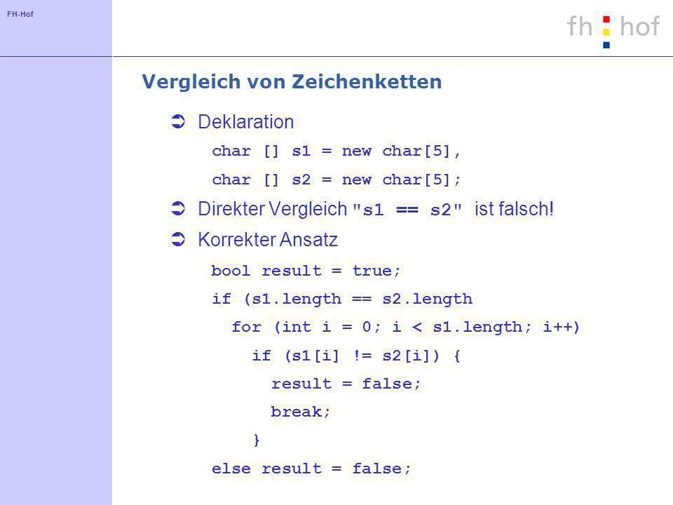 FH-Hof Vergleich von Zeichenketten Deklaration char [] s1 = new char[5], char [] s2 = new char[5]; Direkter Vergleich s1 == s2 ist falsch.
