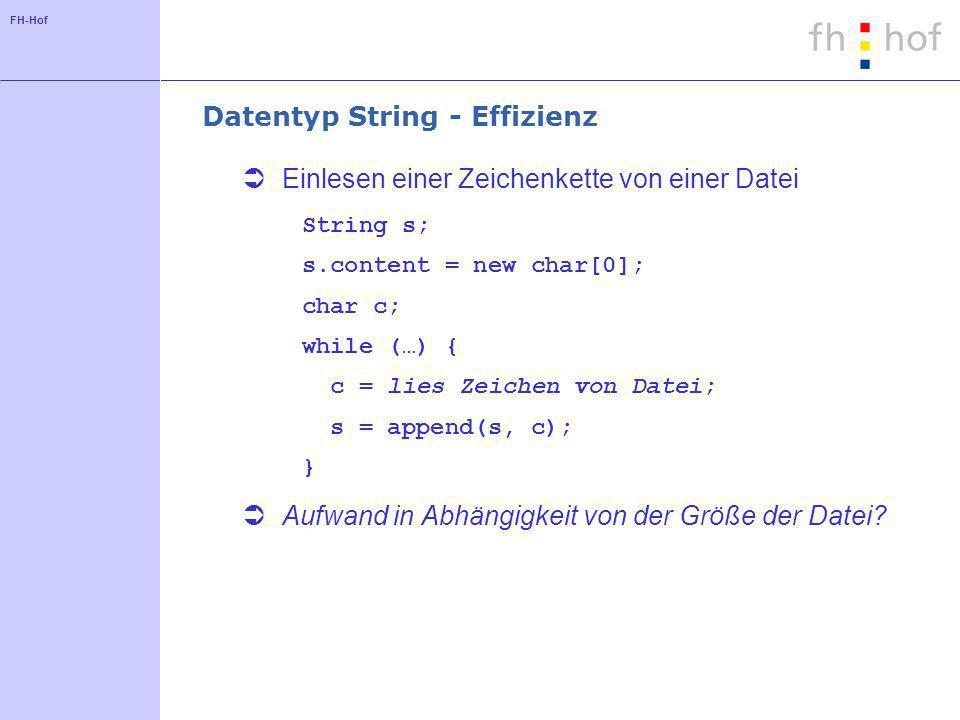 FH-Hof Datentyp String - Effizienz Einlesen einer Zeichenkette von einer Datei String s; s.content = new char[0]; char c; while (…) { c = lies Zeichen von Datei; s = append(s, c); } Aufwand in Abhängigkeit von der Größe der Datei