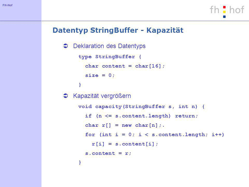 FH-Hof Datentyp StringBuffer – Funktion append Programmcode void append(StringBuffer s, char c) { if (s.content.length == s.size) capacity(s, s.size*2); s.content[s.size] = c; size++; } Aufwand.