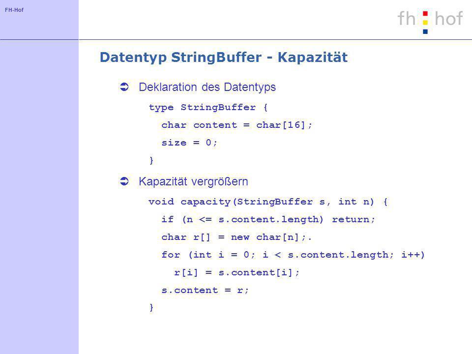 FH-Hof Datentyp StringBuffer - Kapazität Deklaration des Datentyps type StringBuffer { char content = char[16]; size = 0; } Kapazität vergrößern void capacity(StringBuffer s, int n) { if (n <= s.content.length) return; char r[] = new char[n];.