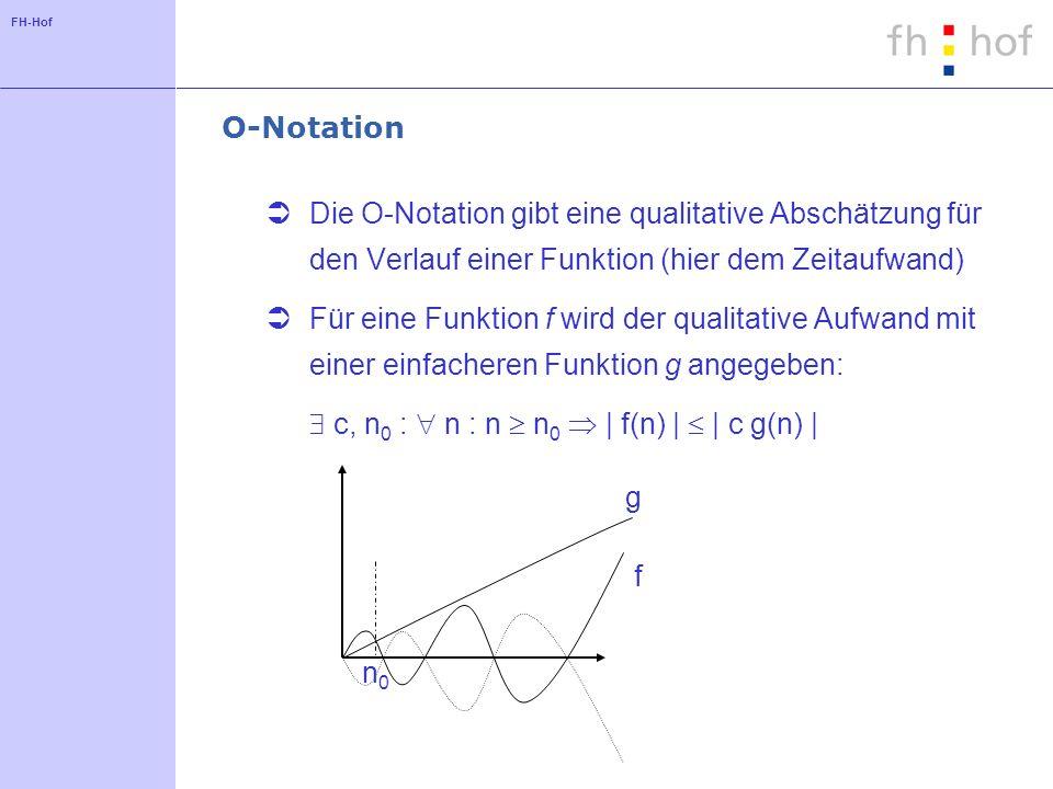 FH-Hof O-Notation Die O-Notation gibt eine qualitative Abschätzung für den Verlauf einer Funktion (hier dem Zeitaufwand) Für eine Funktion f wird der qualitative Aufwand mit einer einfacheren Funktion g angegeben: c, n 0 : n : n n 0 | f(n) | | c g(n) | f g n0n0
