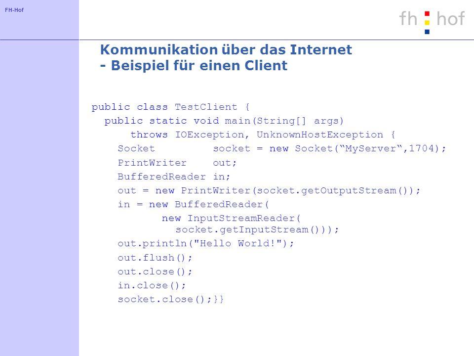 FH-Hof Kommunikation über das Internet - Beispiel für einen Client public class TestClient { public static void main(String[] args) throws IOException