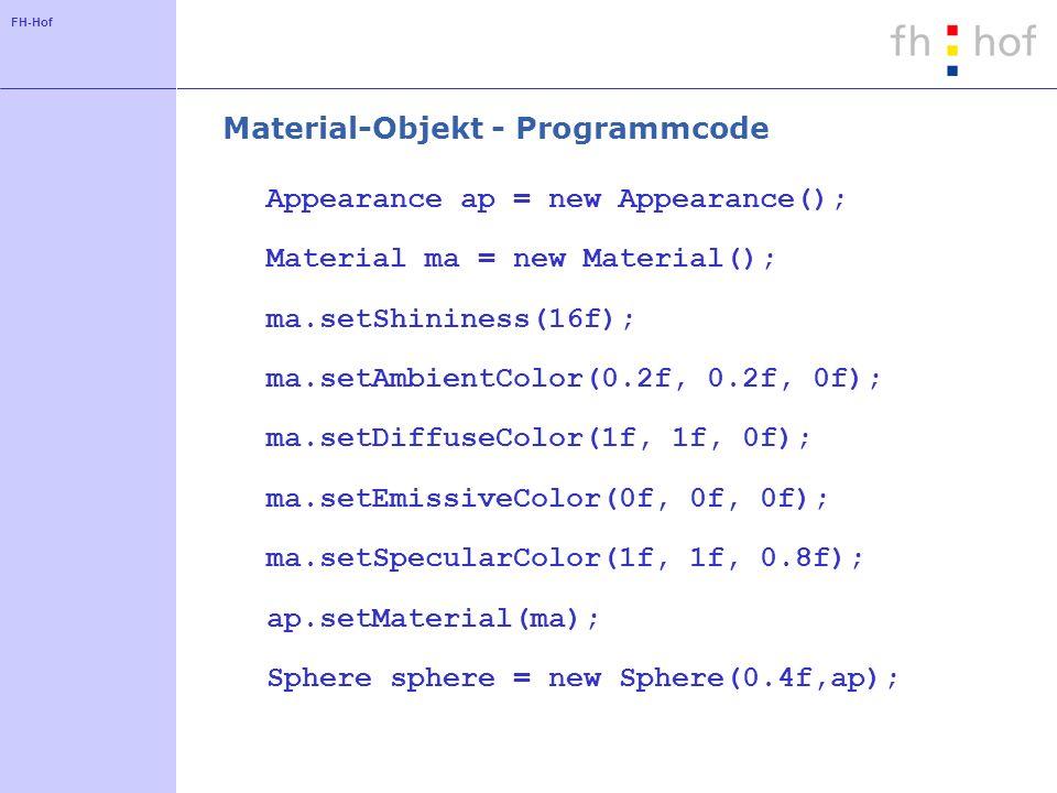 FH-Hof Material-Objekt - Programmcode Appearance ap = new Appearance(); Material ma = new Material(); ma.setShininess(16f); ma.setAmbientColor(0.2f, 0
