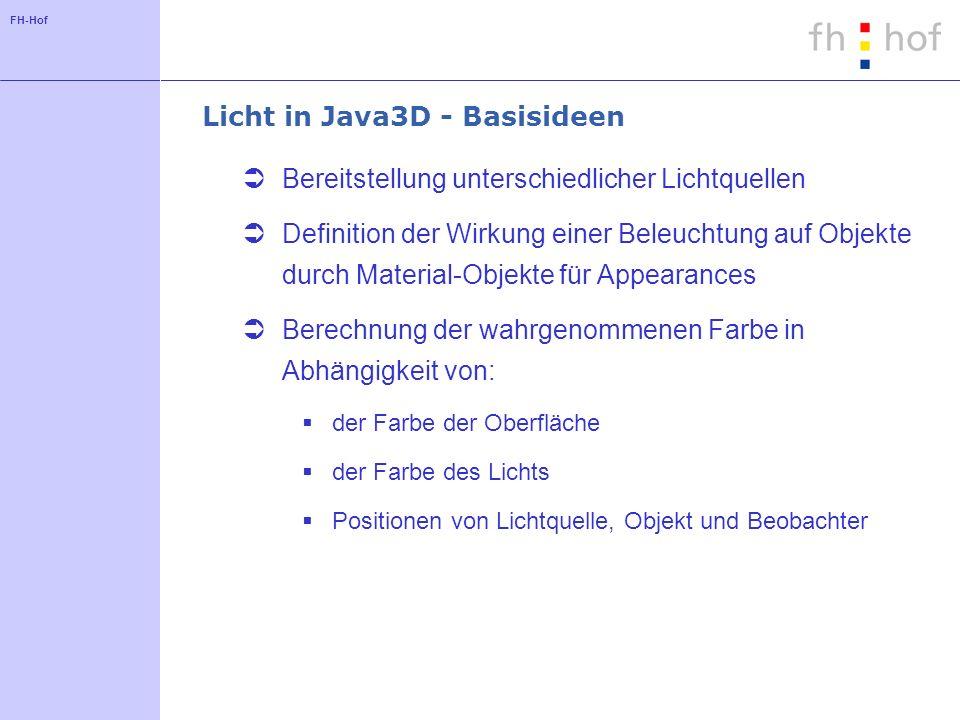 FH-Hof Licht in Java3D - Basisideen Bereitstellung unterschiedlicher Lichtquellen Definition der Wirkung einer Beleuchtung auf Objekte durch Material-