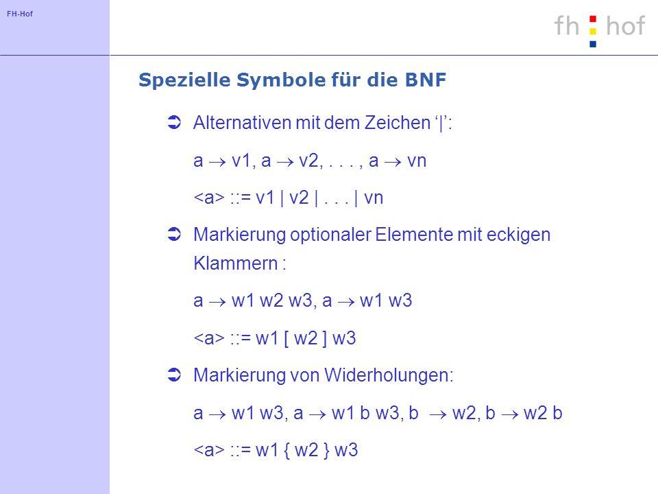 FH-Hof Spezielle Symbole für die BNF Alternativen mit dem Zeichen |: a v1, a v2,..., a vn ::= v1 | v2 |... | vn Markierung optionaler Elemente mit eck