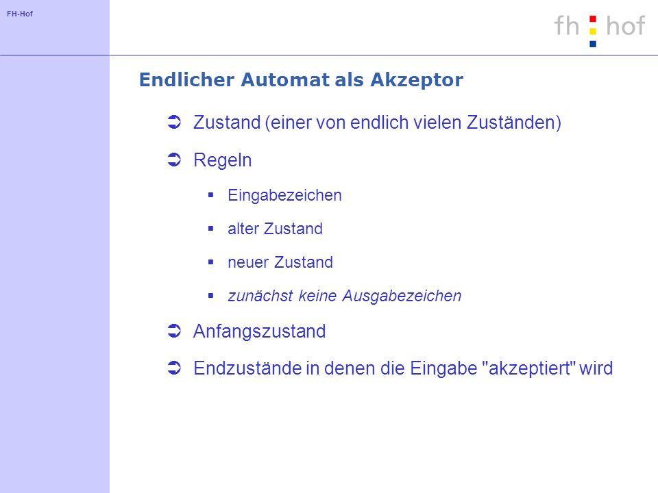 FH-Hof Endlicher Automat als Akzeptor Zustand (einer von endlich vielen Zuständen) Regeln Eingabezeichen alter Zustand neuer Zustand zunächst keine Au