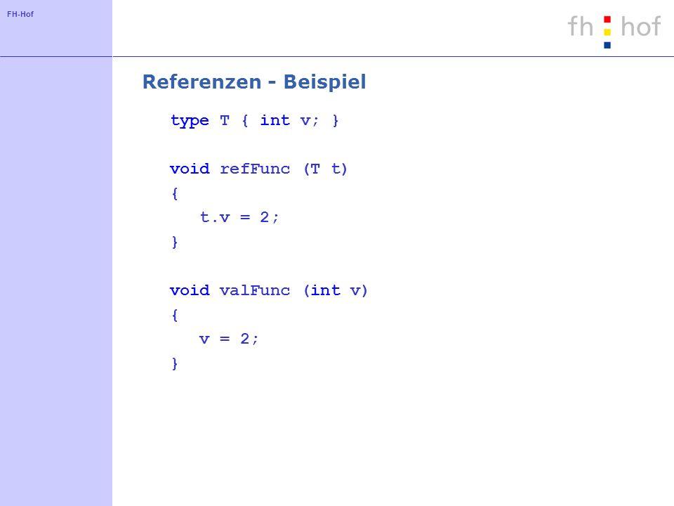 FH-Hof Referenzen - Beispiel type T { int v; } void refFunc (T t) { t.v = 2; } void valFunc (int v) { v = 2; }
