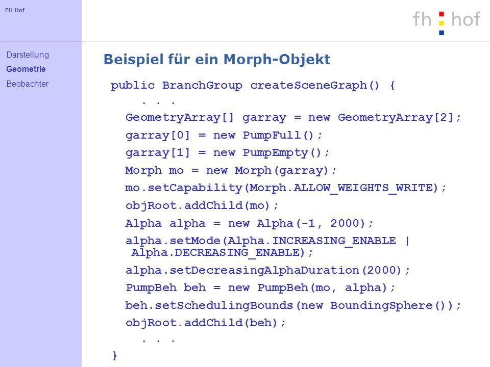 FH-Hof Beispiel für ein Morph-Objekt public BranchGroup createSceneGraph() {...