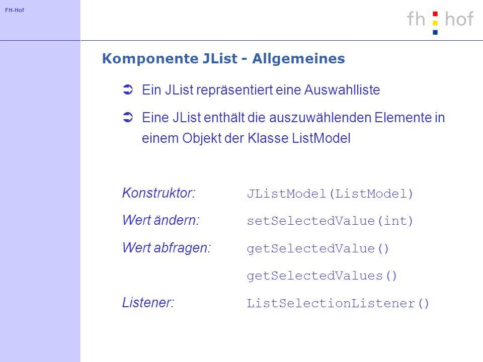 FH-Hof Komponente JList - Allgemeines Ein JList repräsentiert eine Auswahlliste Eine JList enthält die auszuwählenden Elemente in einem Objekt der Kla
