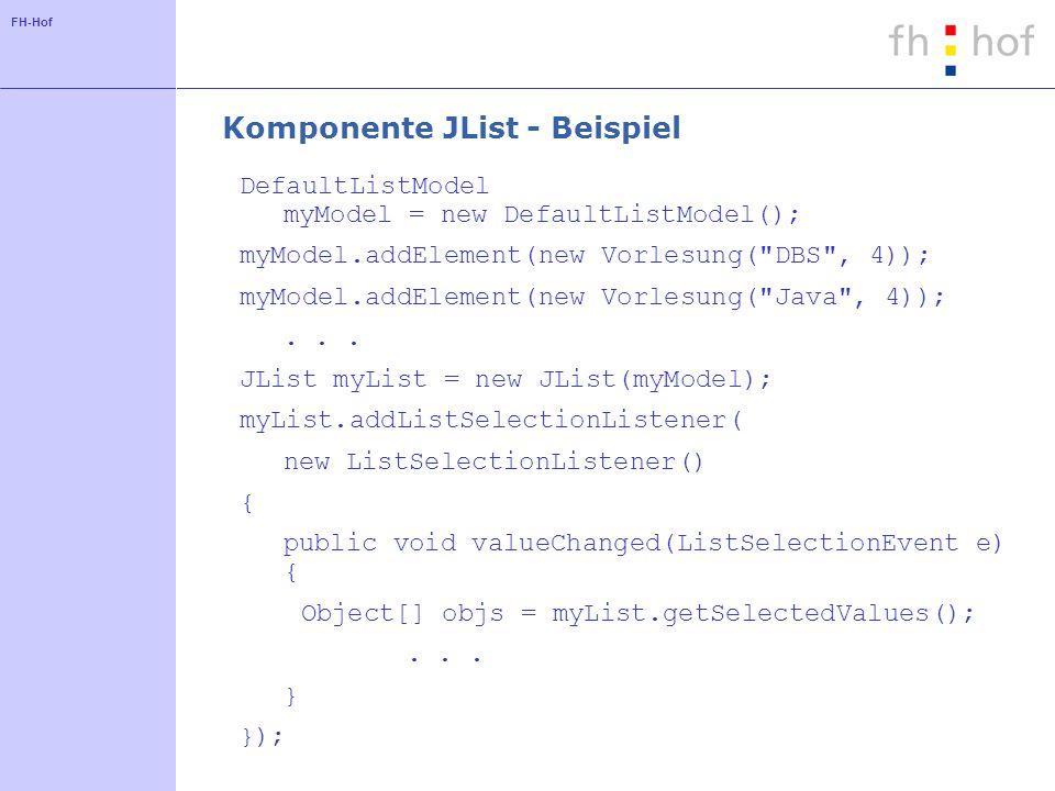 FH-Hof Komponente JList - Beispiel DefaultListModel myModel = new DefaultListModel(); myModel.addElement(new Vorlesung(