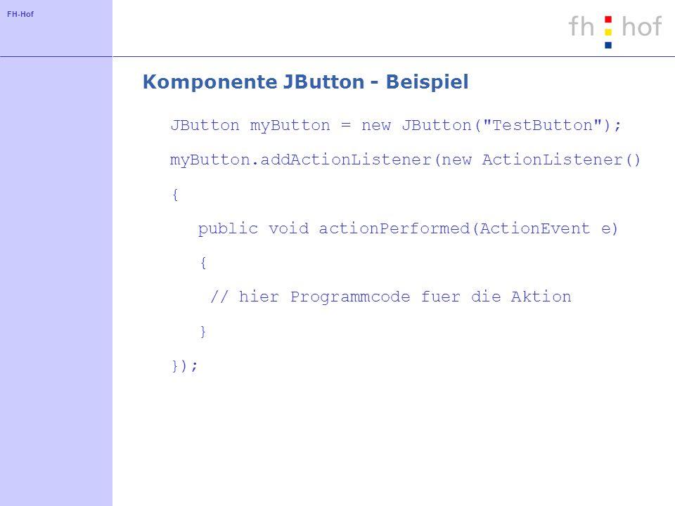 FH-Hof Komponente JButton - Beispiel JButton myButton = new JButton(