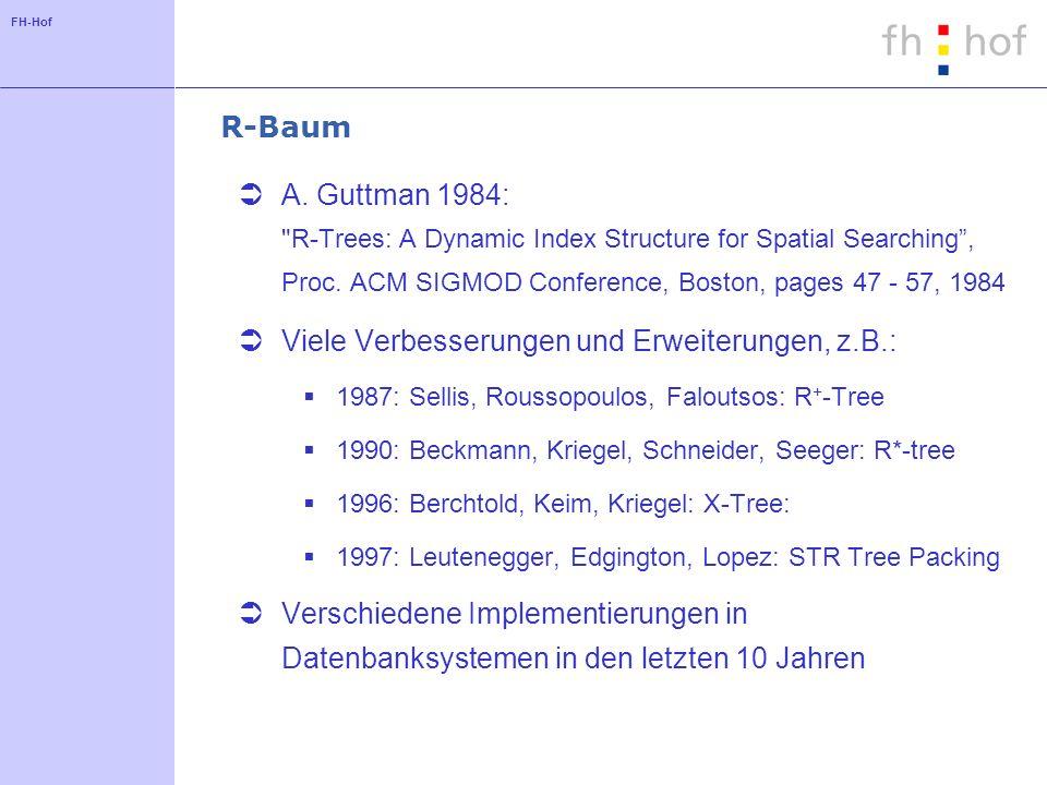 FH-Hof Eigenschaften des R-Baums Baum mit Verzweigungsgrad größer als 2 Knoten des Baumes werden Blöcken der Festplatte zugeordnet Der R-Baum ist vollständig balanciert Algorithmen für das Einfügen und Löschen sind ähnlich wie beim B-Baum Suchverfahren entspricht dem allgemeinen Suchansatz