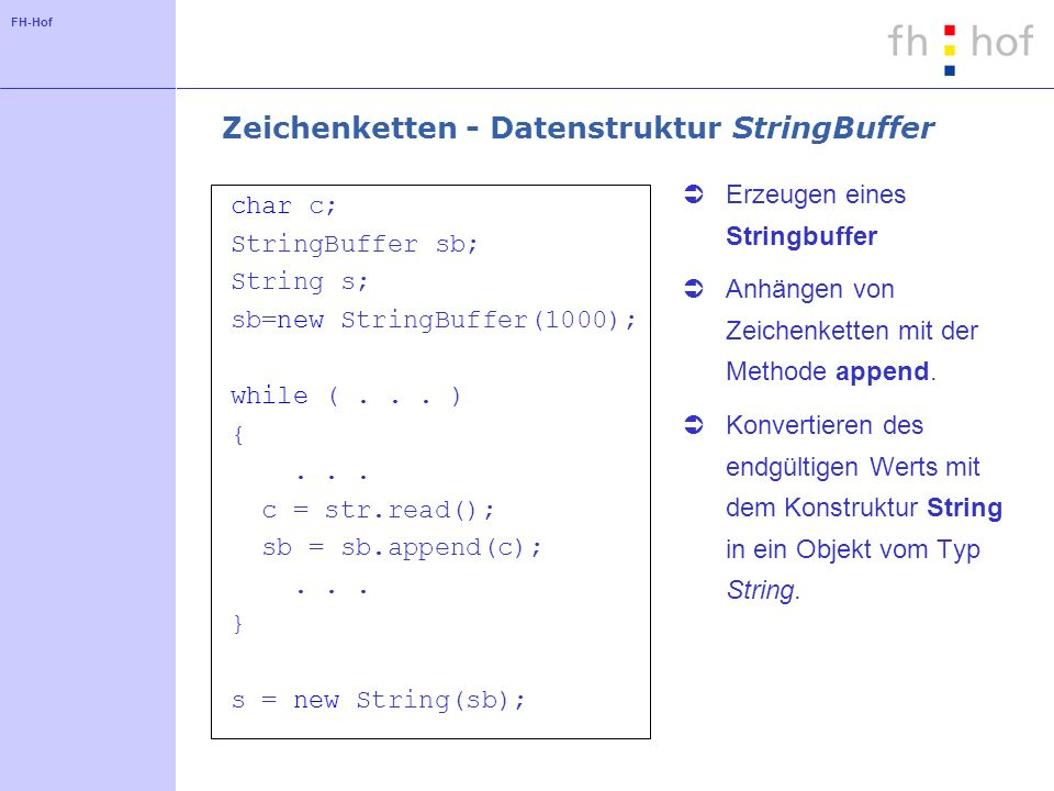 FH-Hof Zeichenkette - Methode toString public class Person { String name; int alter;...