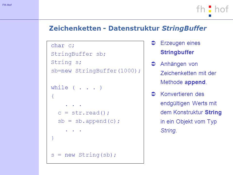 FH-Hof Zeichenketten - Datenstruktur StringBuffer char c; StringBuffer sb; String s; sb=new StringBuffer(1000); while (... ) {... c = str.read(); sb =