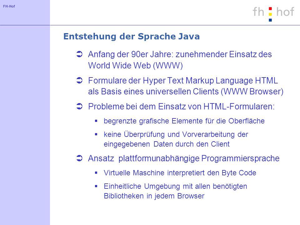 FH-Hof Entstehung der Sprache Java Anfang der 90er Jahre: zunehmender Einsatz des World Wide Web (WWW) Formulare der Hyper Text Markup Language HTML a