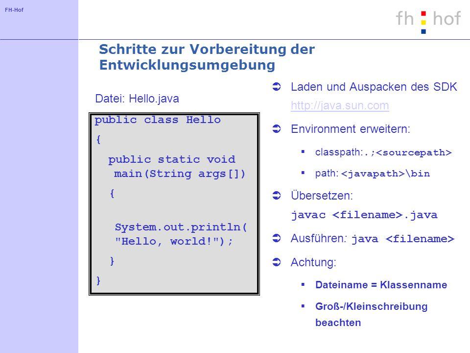 FH-Hof Beispiel für eine Batch-Datei SET PATH=S:\Dozenten\GOEBEL\Programm\java\bin;%PATH% SET CLASSPATH=.;H:\java