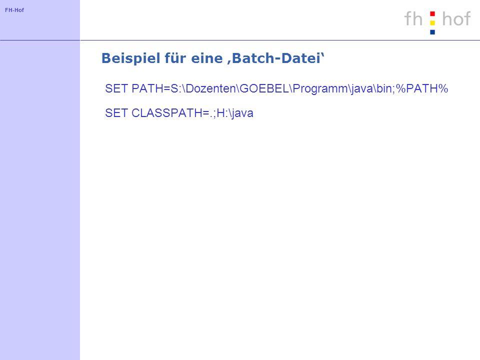 FH-Hof Grundlagen der Sprache - Datentypen Elementare Datentypen: Intrinsic Datatypes ganze Zahlen im 2er-Komplement: byte (8), short (16), int (32), long (64) Gleitkommazahlen nach IEEE 754: float (32), double (64) Unicode-Zeichen: char (16) byte.