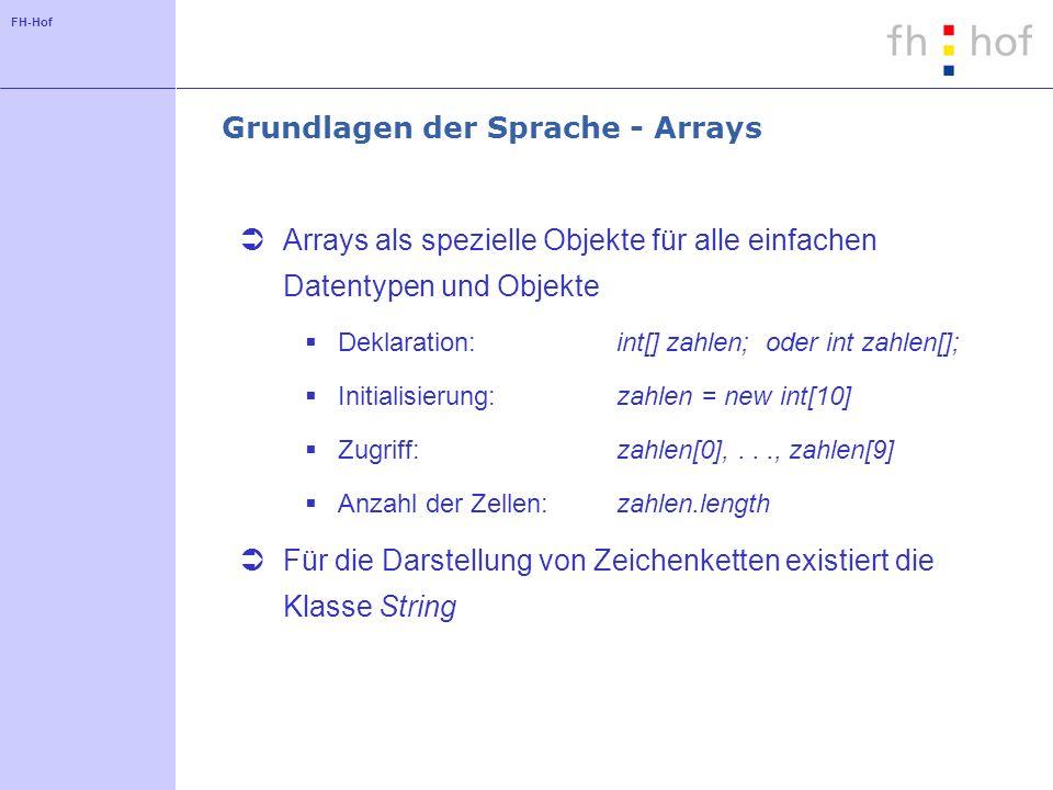 FH-Hof Grundlagen der Sprache - Arrays Arrays als spezielle Objekte für alle einfachen Datentypen und Objekte Deklaration: int[] zahlen; oder int zahl