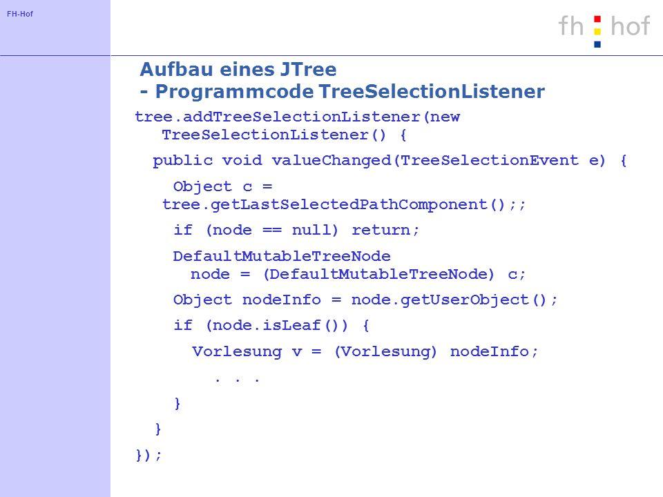 FH-Hof Aufbau eines JTree - Programmcode TreeSelectionListener tree.addTreeSelectionListener(new TreeSelectionListener() { public void valueChanged(Tr