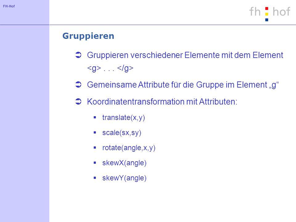 FH-Hof Gruppieren Gruppieren verschiedener Elemente mit dem Element...