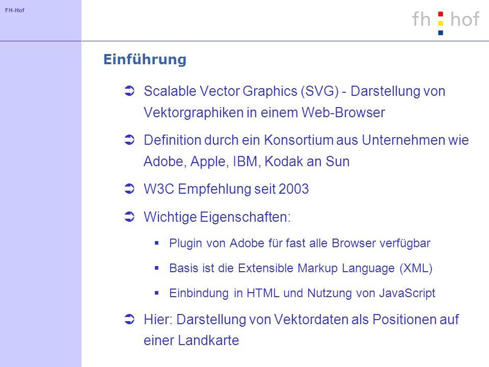 FH-Hof Einführung Scalable Vector Graphics (SVG) - Darstellung von Vektorgraphiken in einem Web-Browser Definition durch ein Konsortium aus Unternehmen wie Adobe, Apple, IBM, Kodak an Sun W3C Empfehlung seit 2003 Wichtige Eigenschaften: Plugin von Adobe für fast alle Browser verfügbar Basis ist die Extensible Markup Language (XML) Einbindung in HTML und Nutzung von JavaScript Hier: Darstellung von Vektordaten als Positionen auf einer Landkarte