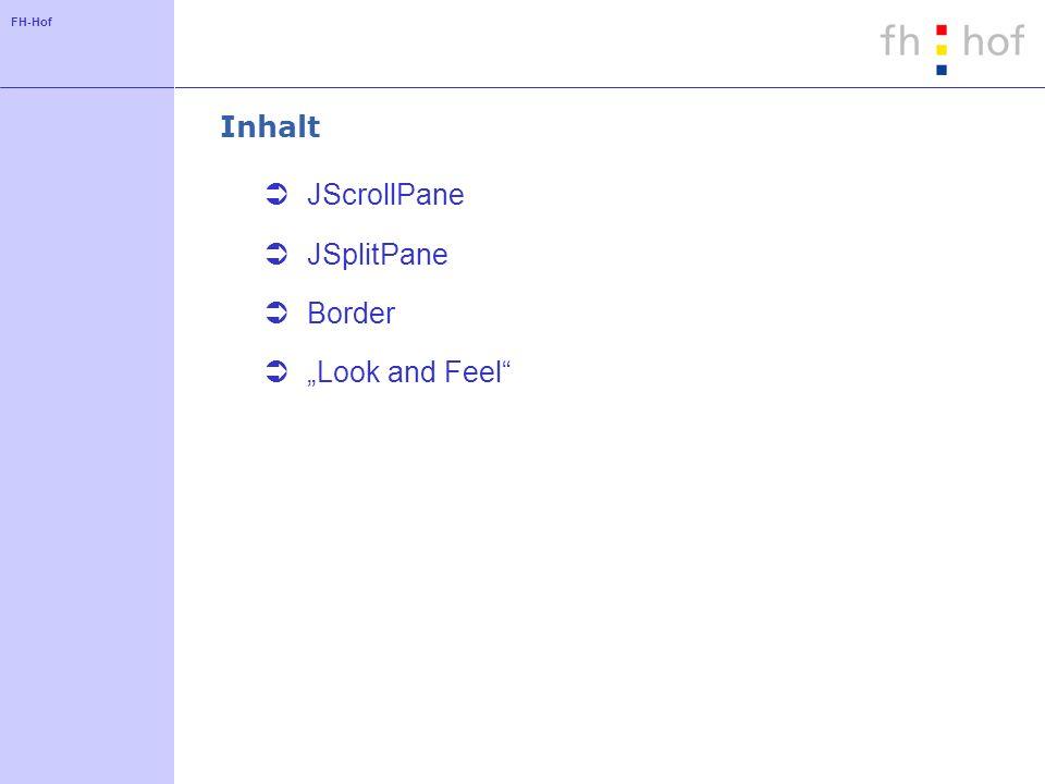 FH-Hof JScrollPane - Anwendungsbeispiel JTextArea