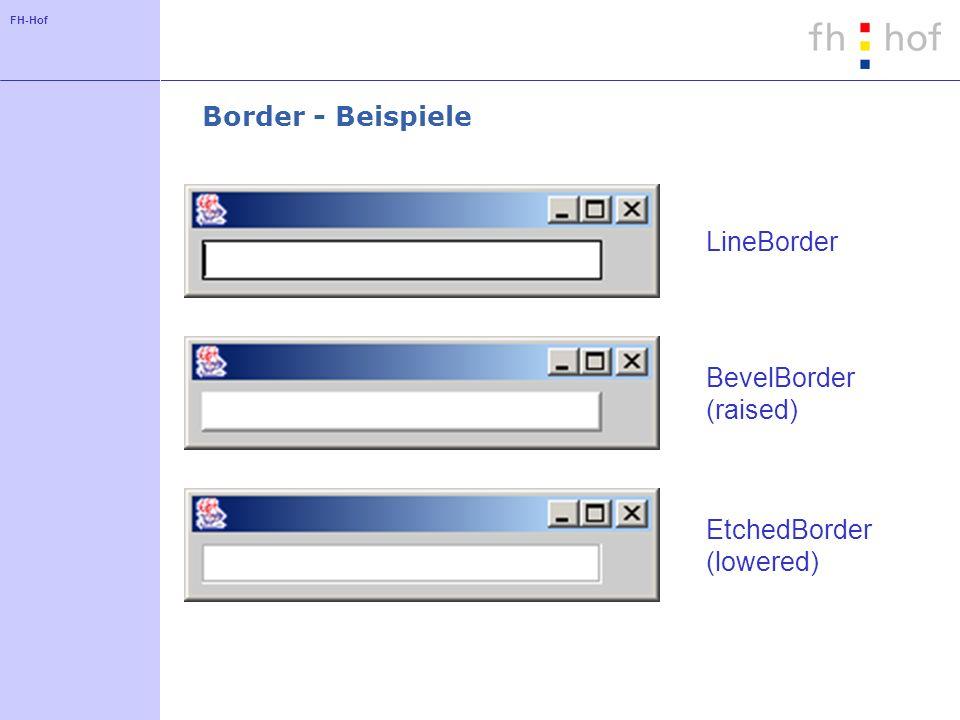 FH-Hof Border - Beispiele LineBorder BevelBorder (raised) EtchedBorder (lowered)