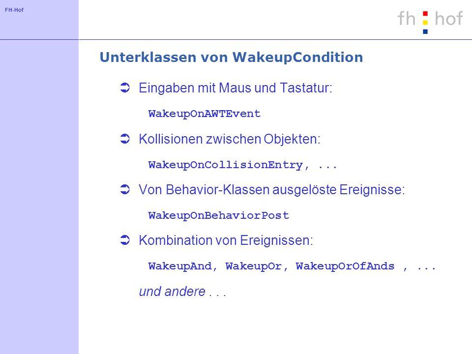 FH-Hof Unterklassen von WakeupCondition Eingaben mit Maus und Tastatur: WakeupOnAWTEvent Kollisionen zwischen Objekten: WakeupOnCollisionEntry,...