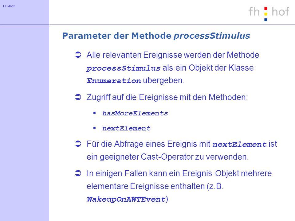 FH-Hof Parameter der Methode processStimulus Alle relevanten Ereignisse werden der Methode processStimulus als ein Objekt der Klasse Enumeration übergeben.