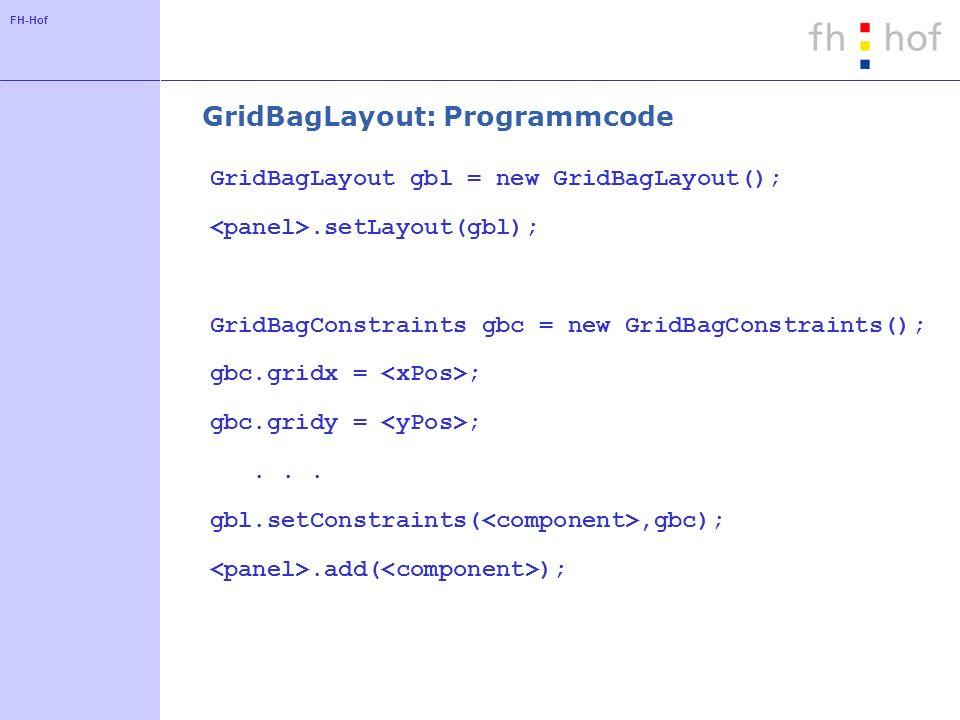 FH-Hof GridBagLayout: Programmcode GridBagLayout gbl = new GridBagLayout();.setLayout(gbl); GridBagConstraints gbc = new GridBagConstraints(); gbc.gri
