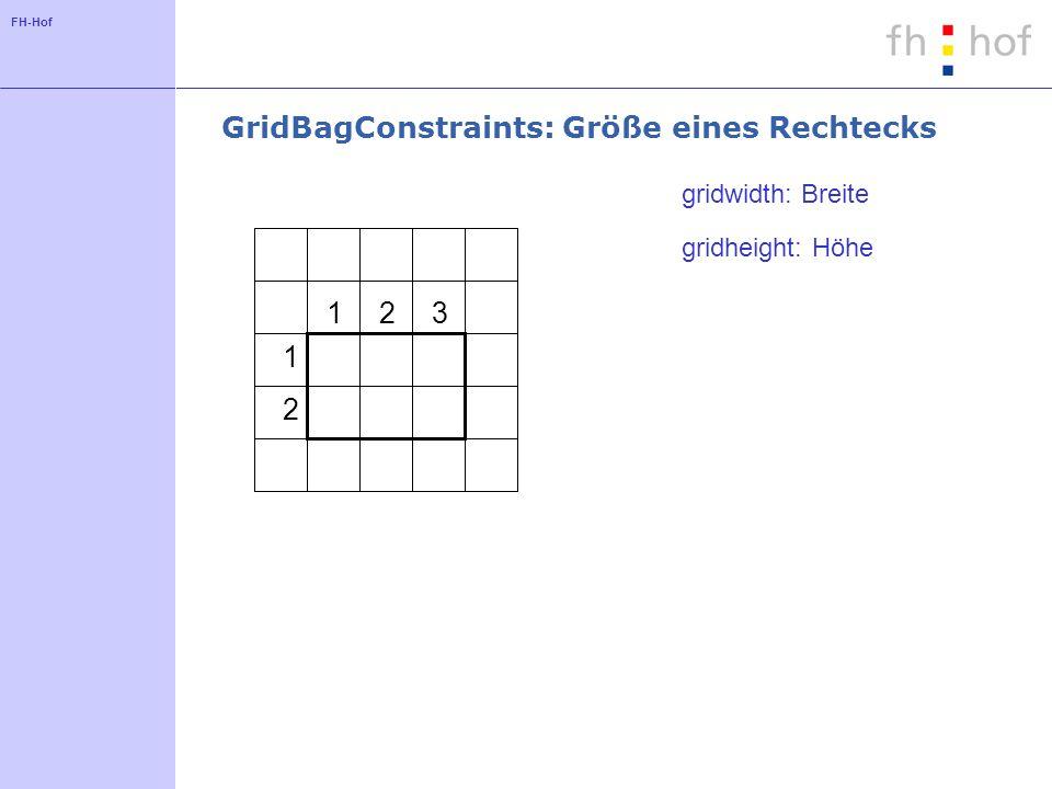 FH-Hof GridBagConstraints: Größe der Komponente fill = NONE fill = HORIZONTAL fill = VERTICALfill = BOTH