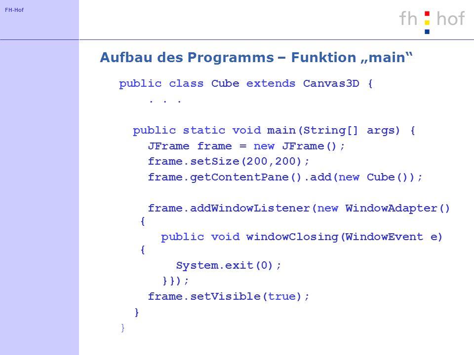 FH-Hof Geometrie für 3D-Texte - Anweisungen Font font = new Font( Helvetica , Font.PLAIN, 2); Font3D font3D = new Font3D(font, new FontExtrusion()); Text3D textGeom = new Text3D(font3D, new String( FH Hof ), new Point3f(1f,0f,-5f));.addChild(new Shape3D(textGeom, new Appearance()));