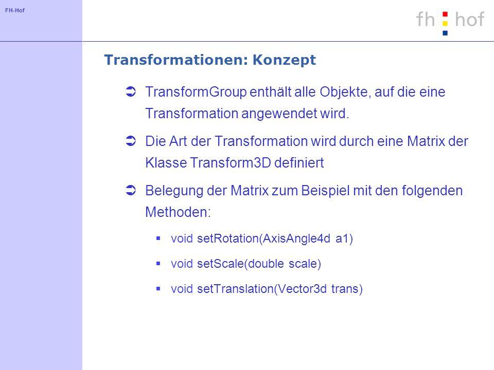 FH-Hof Transformationen: Beispiel TransformGroup trans = new TransformGroup(); objRoot.addChild(trans); trans.addChild(new ColorCube(0.2)); Transform3D m1 = new Transform3D(); m1.setRotation(new AxisAngle4d(0,1,0,Math.PI / 4)); trans.setTransform(m1);