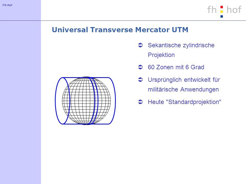 FH-Hof Universal Transverse Mercator UTM Sekantische zylindrische Projektion 60 Zonen mit 6 Grad Ursprünglich entwickelt für militärische Anwendungen