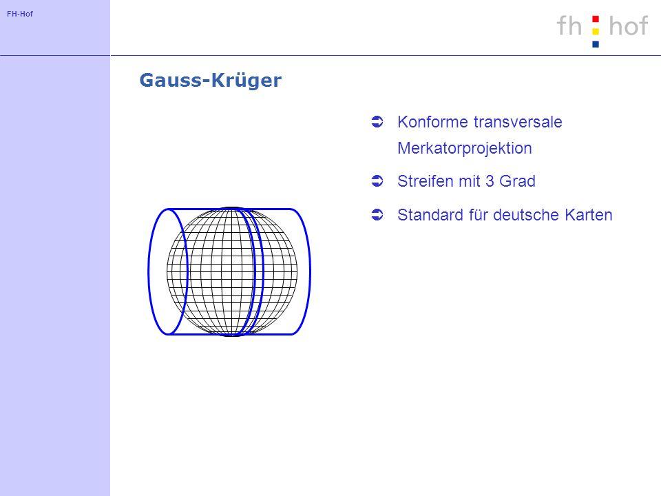 FH-Hof Gauss-Krüger Konforme transversale Merkatorprojektion Streifen mit 3 Grad Standard für deutsche Karten