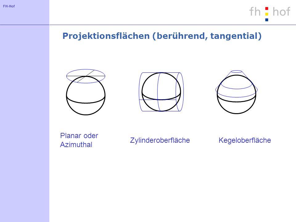 FH-Hof Projektionsflächen (berührend, tangential) Planar oder Azimuthal ZylinderoberflächeKegeloberfläche