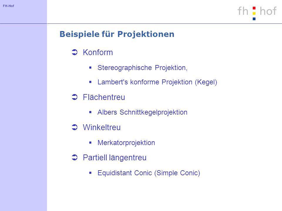 FH-Hof Beispiele für Projektionen Konform Stereographische Projektion, Lambert's konforme Projektion (Kegel) Flächentreu Albers Schnittkegelprojektion