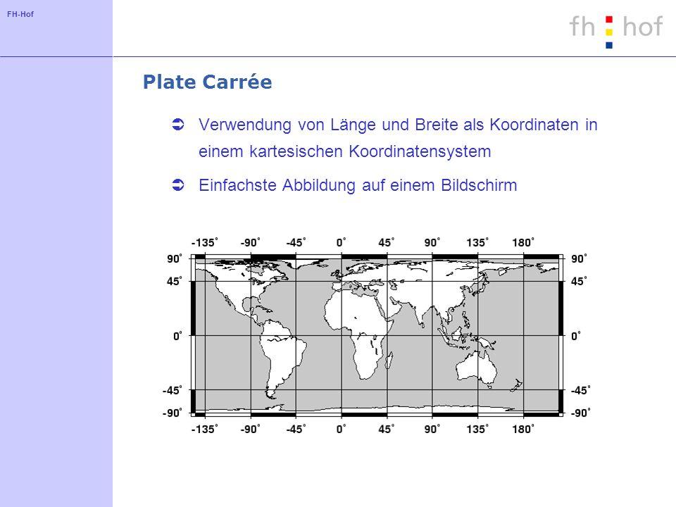FH-Hof Plate Carrée Verwendung von Länge und Breite als Koordinaten in einem kartesischen Koordinatensystem Einfachste Abbildung auf einem Bildschirm