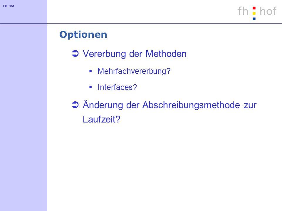 FH-Hof Optionen Vererbung der Methoden Mehrfachvererbung? Interfaces? Änderung der Abschreibungsmethode zur Laufzeit?