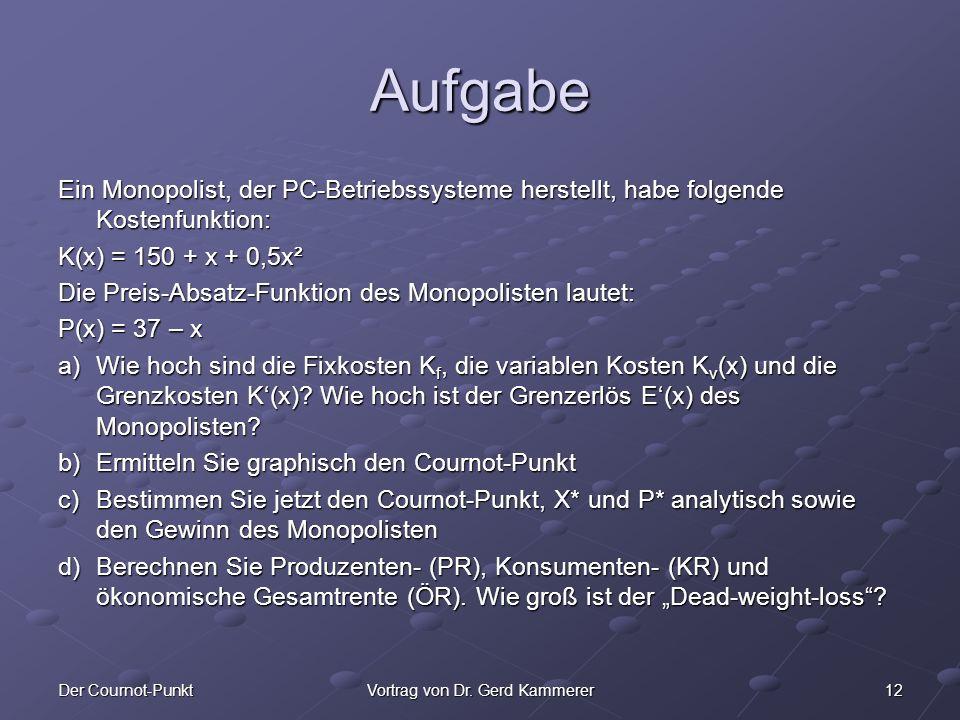 12Der Cournot-PunktVortrag von Dr. Gerd Kammerer Aufgabe Ein Monopolist, der PC-Betriebssysteme herstellt, habe folgende Kostenfunktion: K(x) = 150 +