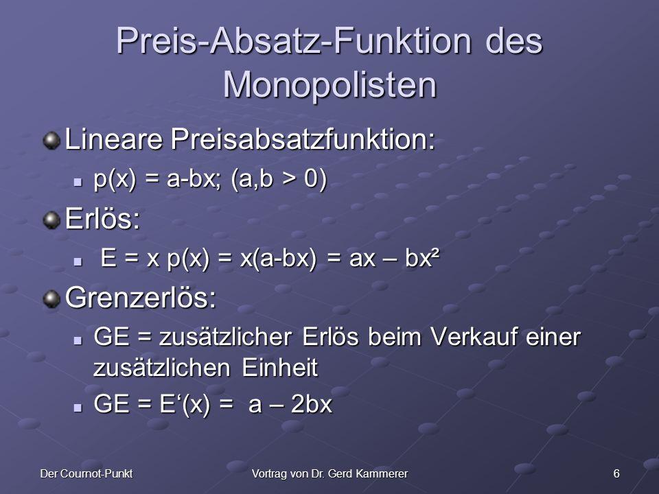 6Der Cournot-PunktVortrag von Dr. Gerd Kammerer Preis-Absatz-Funktion des Monopolisten Lineare Preisabsatzfunktion: p(x) = a-bx; (a,b > 0) p(x) = a-bx