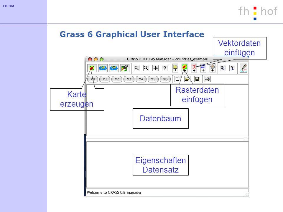 FH-Hof Grass 6 Graphical User Interface Rasterdaten einfügen Vektordaten einfügen Datenbaum Eigenschaften Datensatz Karte erzeugen